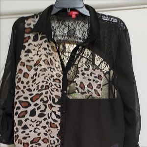 Bongo sheer blouse with lace and leopard print